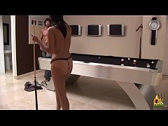 Hot Latin chick with big ass loses game of billiards and gets dick inside