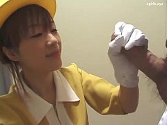 Japanese handjob with white gloves uncensored