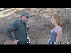 Officer welcomes a redhead immigrant