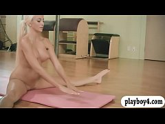 Lovely hotties and trainer hot yoga session while theyre nude