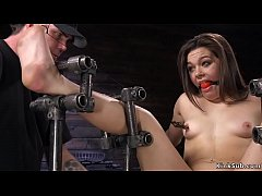 gagged small tits brunette slave kimber woods on her knees in device bondage gets nipples tormented