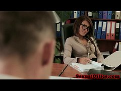 Gorgeous teen secretary fucks the office boss