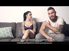 CASTING FRANCAIS - Sweet tattooed newbie films first time porn scene