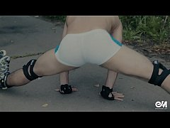 Sexy roller skates guy in tight speedos bulging cock and butt