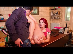 LA COCHONNE - Big boobs French redhead Julie Valmont heated office sex