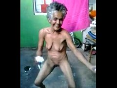 old lady dancing naked