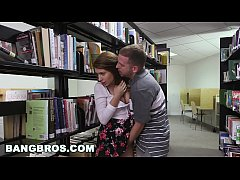 BANGBROS - Pounding a teen brunette named Joseline Kelly in the library