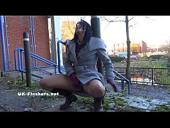 Toying british brunette Honestys outdoor masturbation and public nudity of flash
