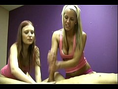 Two jerky sexy Blondes are able to extract cum from man