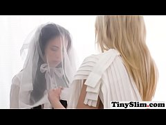 Sexy blonde and brunette mormon lesbians having fun