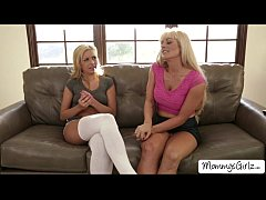 Blonde Carmen and MILF Holly acknowledges pussy play on lounge chair