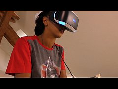 Playstation VR Play of Ebony Teens Dreams in a Lace Lingerie