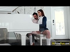 Cute teen with perky tits gets pounded by her piano teacher