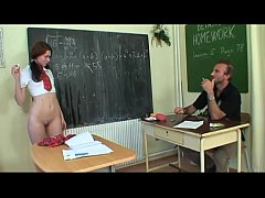 Schoolgirl forced by her teacher to take off her skirt in class!