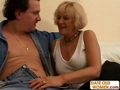 Older woman fucks a shy younger guy