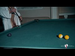 Naked guy swimming ended with big dick handjob on a pool table