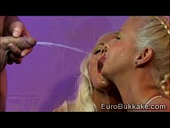 Euro blond goddess get fucked and covered with piss