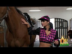 Sexy Latina Jockey Rides a Big Cock