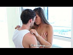 PornPros - Hot Anastasia Black tempts guy with banana eating