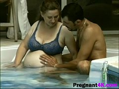 foreplay in pool leads to sensual sex with pregnant wifebig