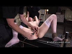 Blonde in stockings gets slave training
