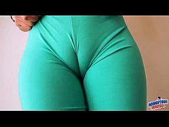 huge natural boobs blonde and perfect cameltoe in yoga pants