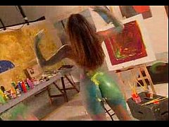 Hot chick playing with paint