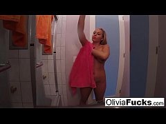 Pierced Olivia Austin washes off after a long day