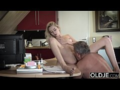 Young Old porn Martha gives grandpa a blowjob and has sex with his old dick