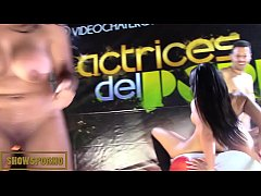 Latin pornstar bigbutt and brunette teen bigtits amazing threesome on stage