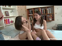 Delicate teens Karen and Sophia in threesome