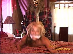Hot blonde with big tatas gets bound and groped by a werewolf