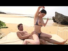 Real Japanese sex on the beach along Sofia Takigawa