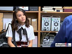 Tiny Asian stole some things from the store and police officer punished her so hard