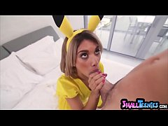 My tiny GF dressed as a pokemon and gets fucked hard
