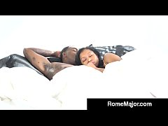 yasmine de leon sucks rome major s big black cock balls deep