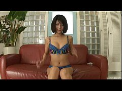 Big titty Azumi plays with her phat tits and puffy nipples