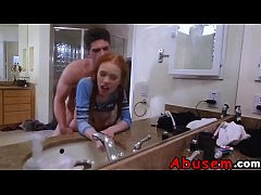 Redhead teen Dolly Little takes big dick roughly