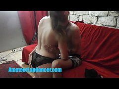 Czech MILF doing lapdance and blowjob at her first shooting