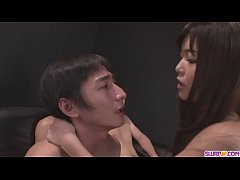 Megumi Shino Rewards Two Male Slaves With Blowjobs - More at Slurpjp.com