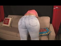 Redhead in jeans farting