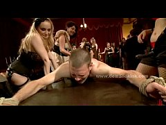 Man sex slave in middle of mistress ritual is forced to fuck in sado maso femdom