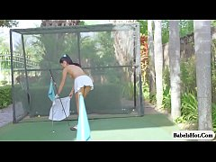 Petite Russian teen gets naked slowly while playing golf