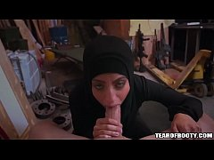 Arab babe with hijab sucks monster cock