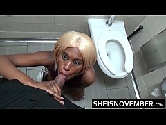 Provocative Msnovember Blowjob In Public Diner Restroom By Young Ebony Seducing White Man HD