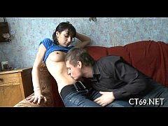 Cock-riding on the soft sofa