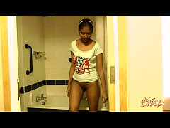 Seductive Dark Skin College Girl Striptease In Shower
