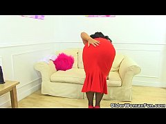English milf Katie Coquard looks very naughty in red lingerie and loves showing how she stuffs her fanny with a big dildo. Bonus video: UK milf Eva Jayne.