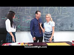 InnocentHigh - Angry School Girls 3some with Teacher
