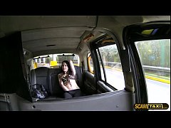 Petite brunette Alessa gets her tight pussy paid in the taxi